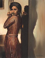 Woman In Striped Dress